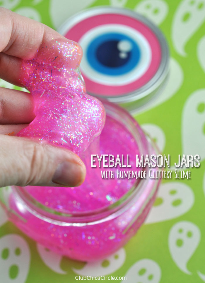 Eyeball Mason Jars with Homemade Glittery Slime